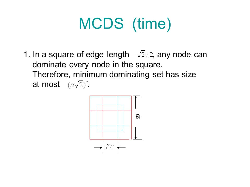MCDS (time) In a square of edge length , any node can