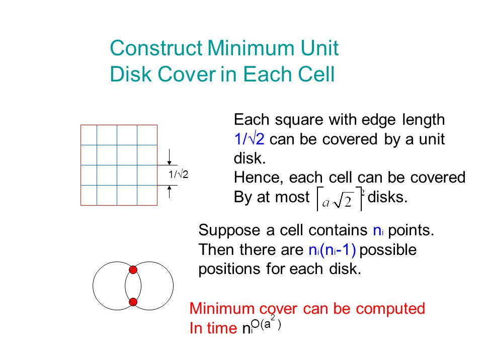 Construct Minimum Unit Disk Cover in Each Cell