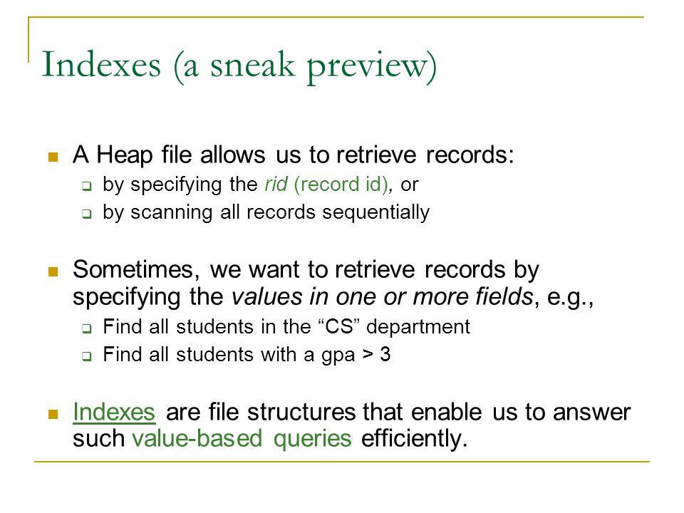Indexes (a sneak preview)
