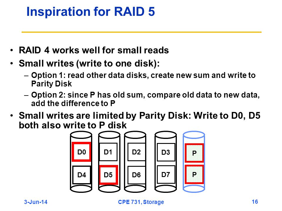 Inspiration for RAID 5 RAID 4 works well for small reads