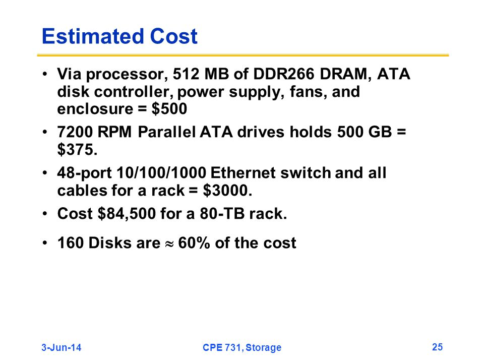 Estimated Cost Via processor, 512 MB of DDR266 DRAM, ATA disk controller, power supply, fans, and enclosure = $500.