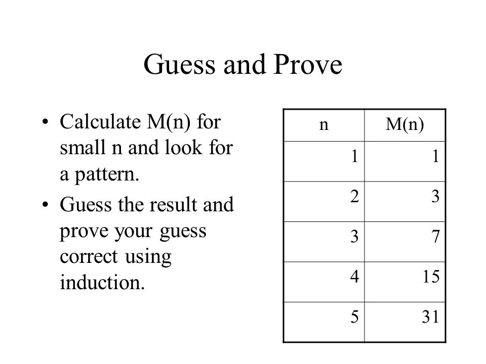 Guess and Prove Calculate M(n) for small n and look for a pattern.