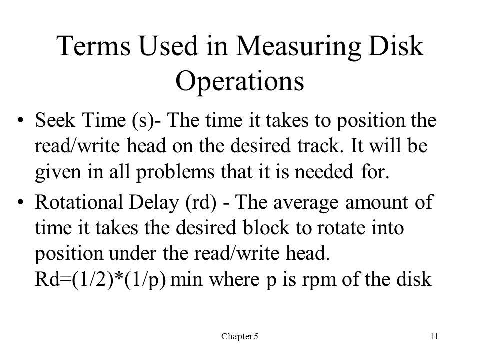 Terms Used in Measuring Disk Operations
