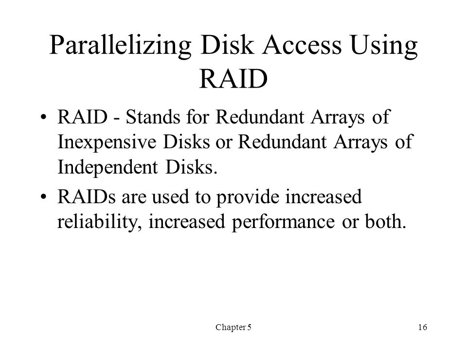 Parallelizing Disk Access Using RAID