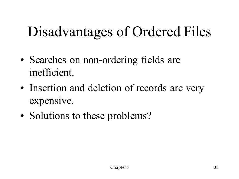 Disadvantages of Ordered Files
