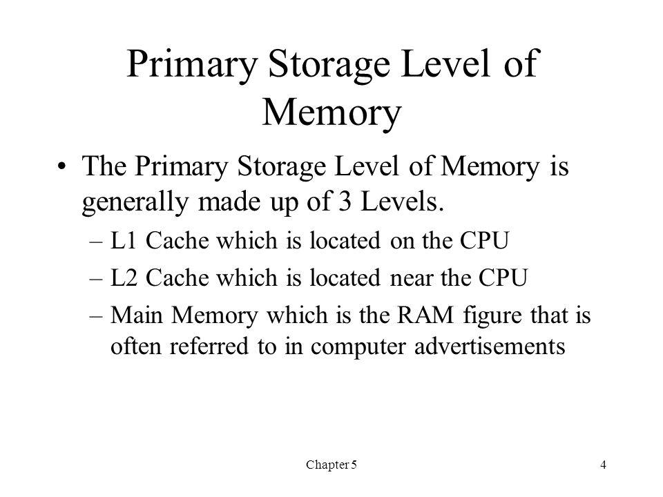 Primary Storage Level of Memory