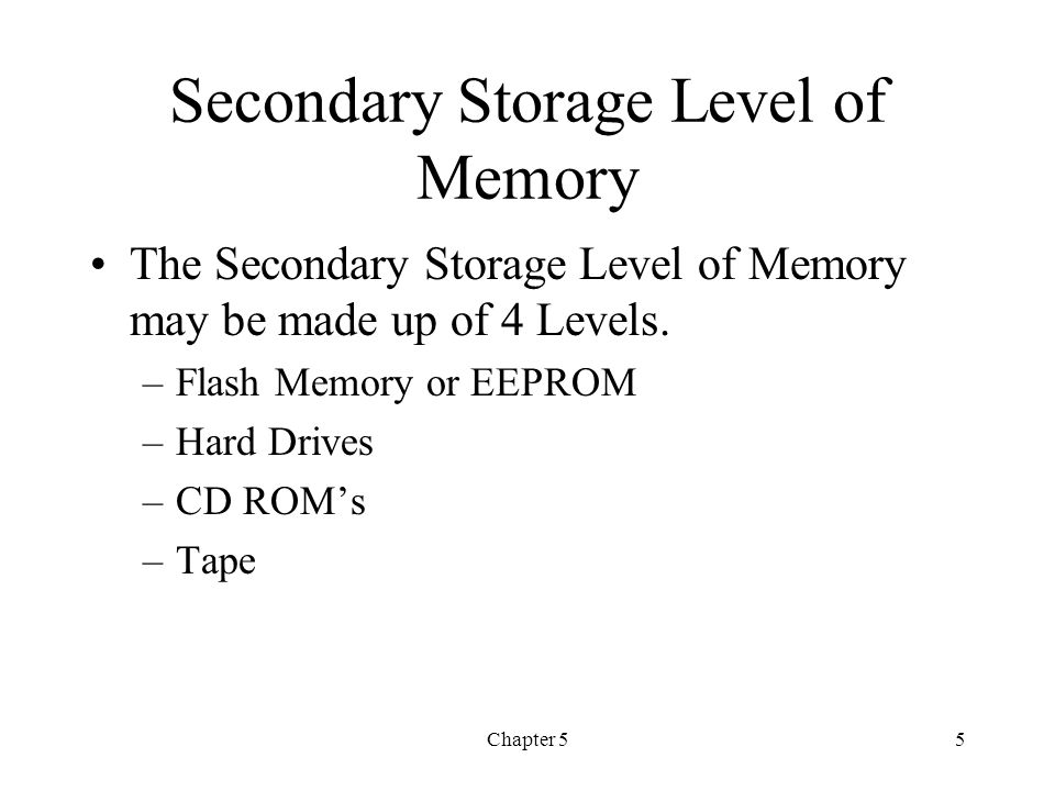 Secondary Storage Level of Memory