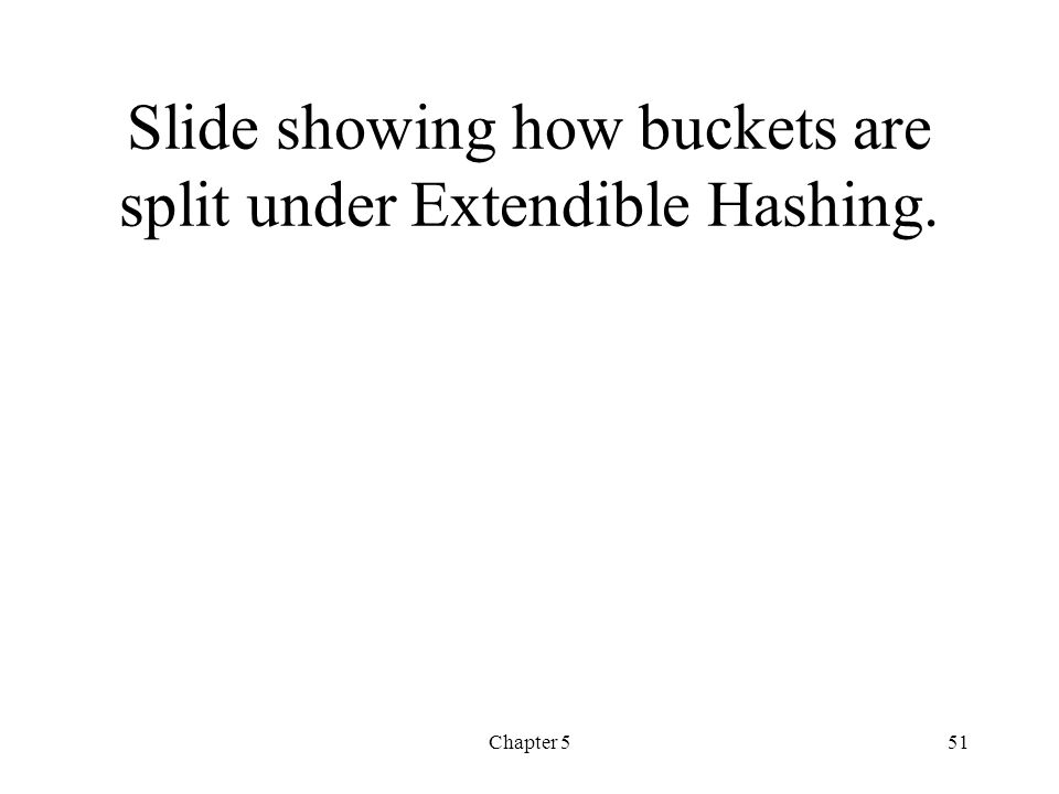 Slide showing how buckets are split under Extendible Hashing.