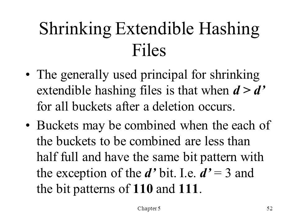 Shrinking Extendible Hashing Files