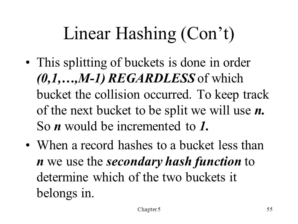Linear Hashing (Con't)