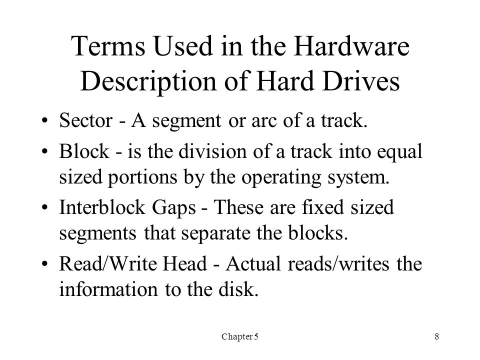 Terms Used in the Hardware Description of Hard Drives