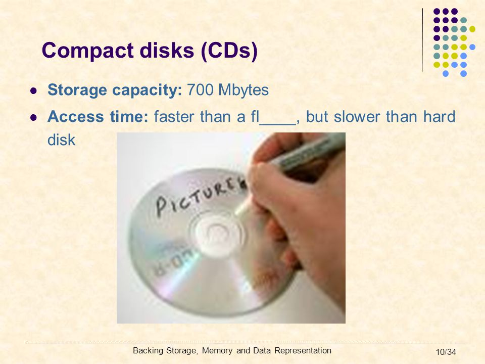 Compact disks (CDs) Storage capacity: 700 Mbytes