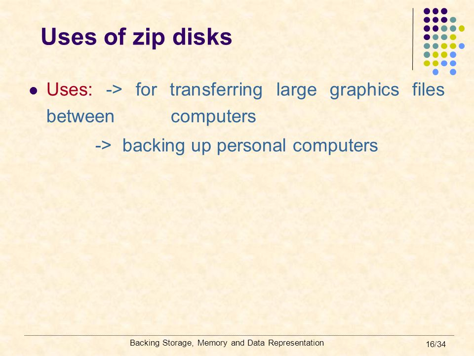 Uses of zip disks Uses: -> for transferring large graphics files between computers. -> backing up personal computers.