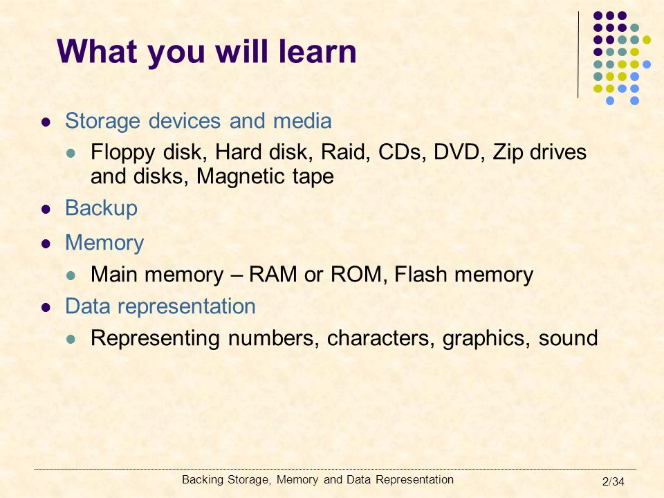 What you will learn Storage devices and media