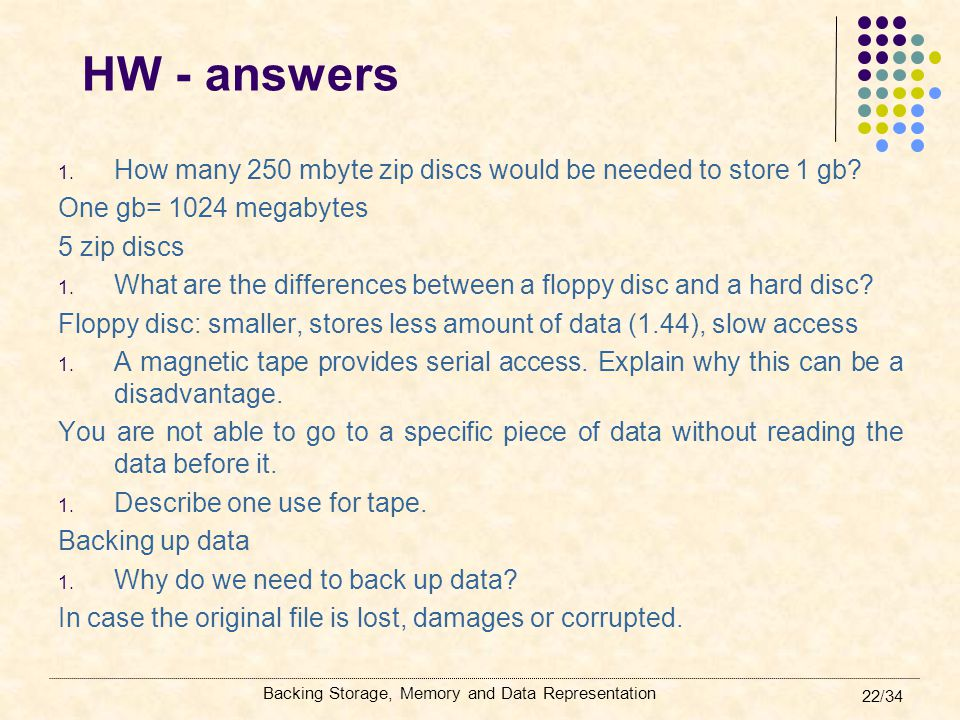 HW - answers How many 250 mbyte zip discs would be needed to store 1 gb One gb= 1024 megabytes. 5 zip discs.