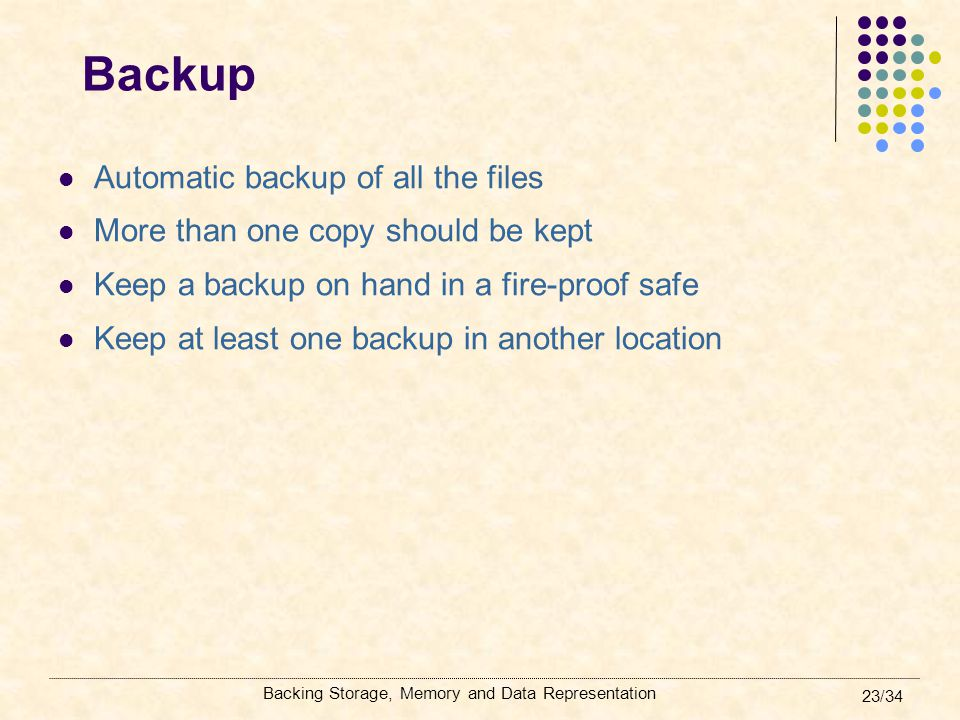 Backup Automatic backup of all the files