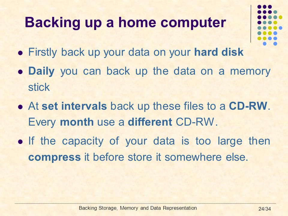 Backing up a home computer