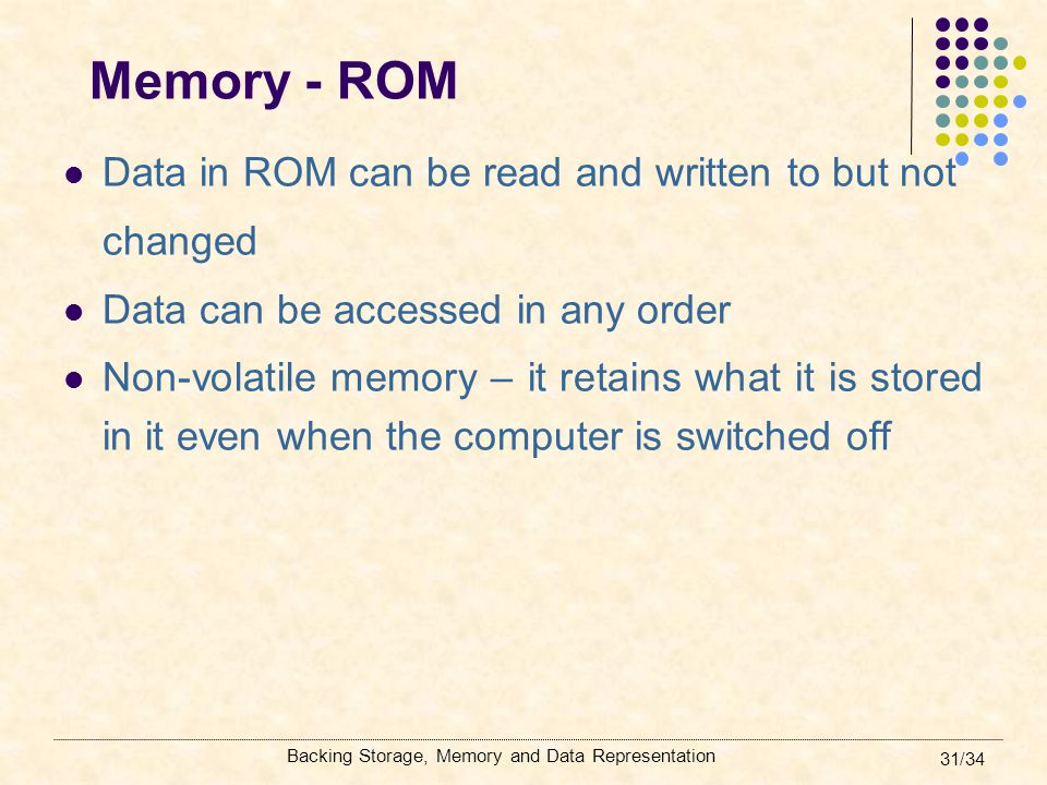 Memory - ROM Data in ROM can be read and written to but not changed