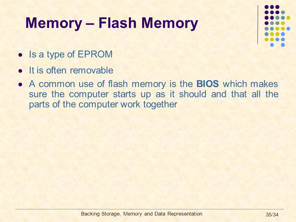 Memory – Flash Memory Is a type of EPROM It is often removable