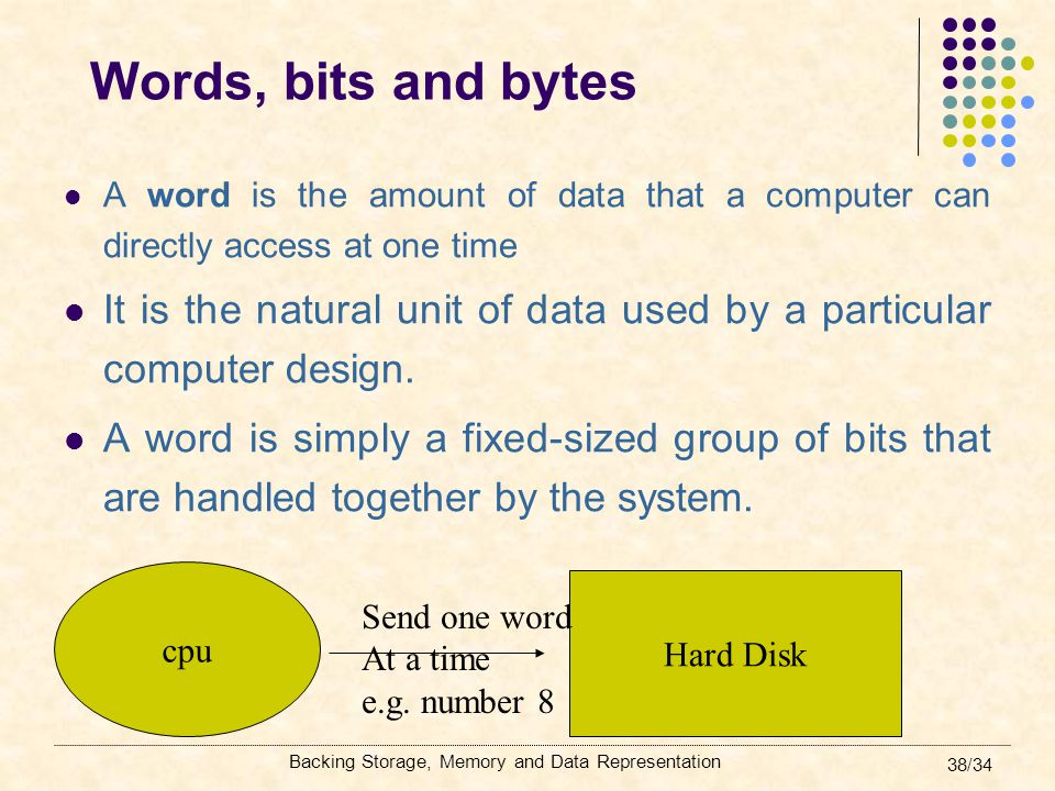 Words, bits and bytes A word is the amount of data that a computer can directly access at one time.