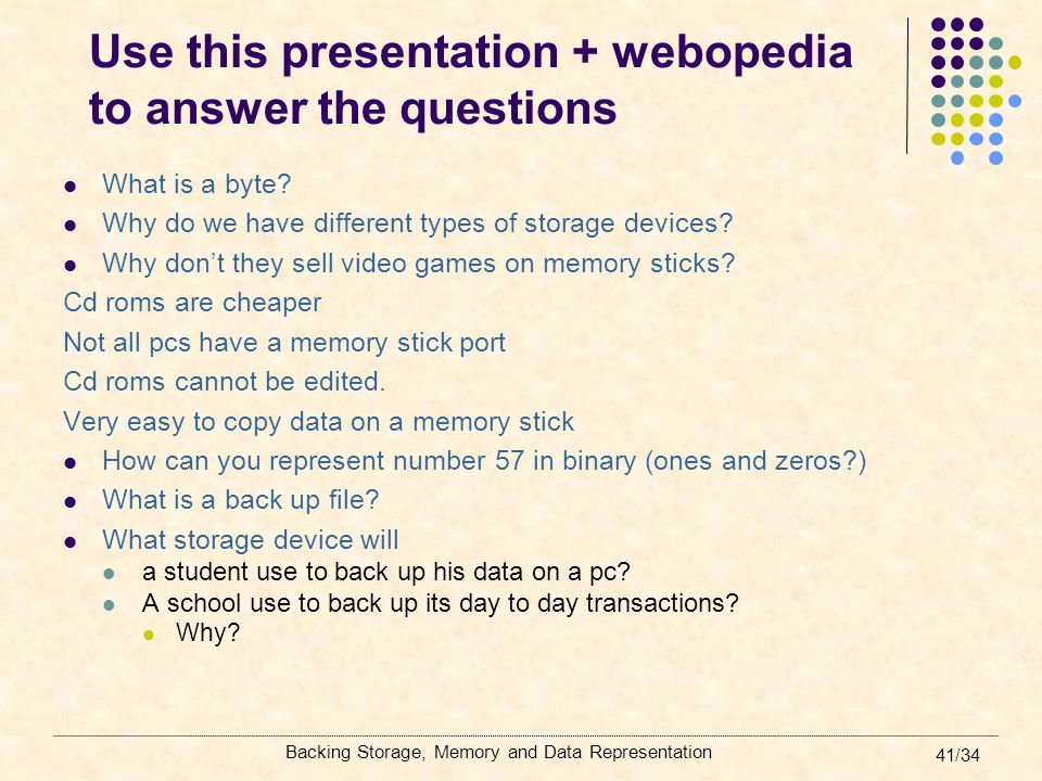Use this presentation + webopedia to answer the questions