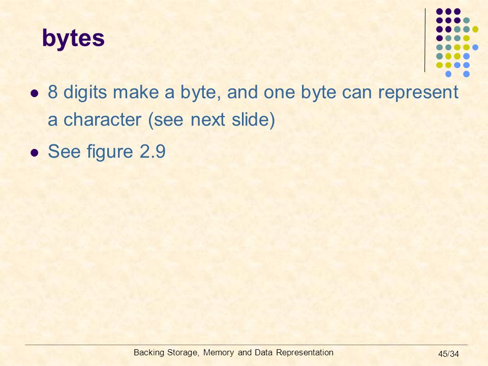 bytes 8 digits make a byte, and one byte can represent a character (see next slide) See figure 2.9.