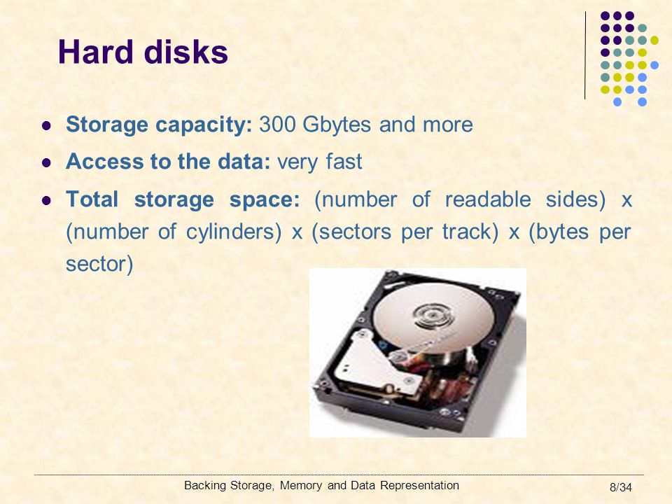 Hard disks Storage capacity: 300 Gbytes and more
