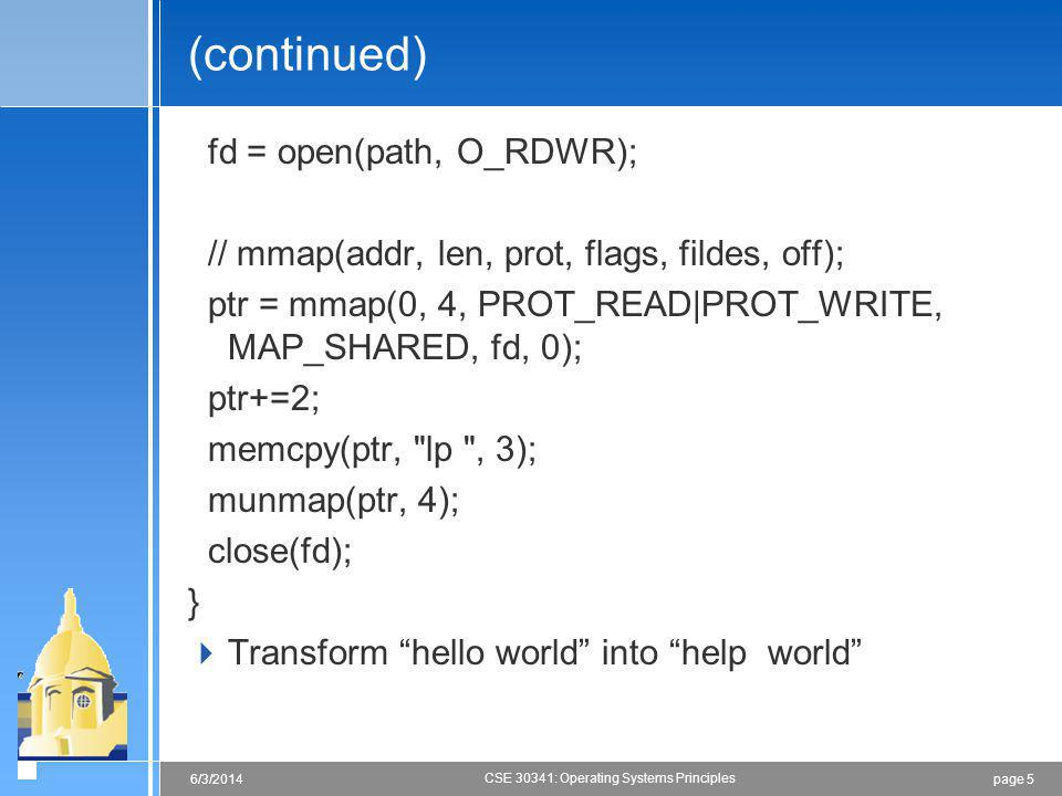 (continued) fd = open(path, O_RDWR);