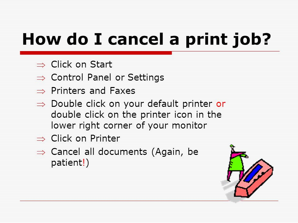 How do I cancel a print job