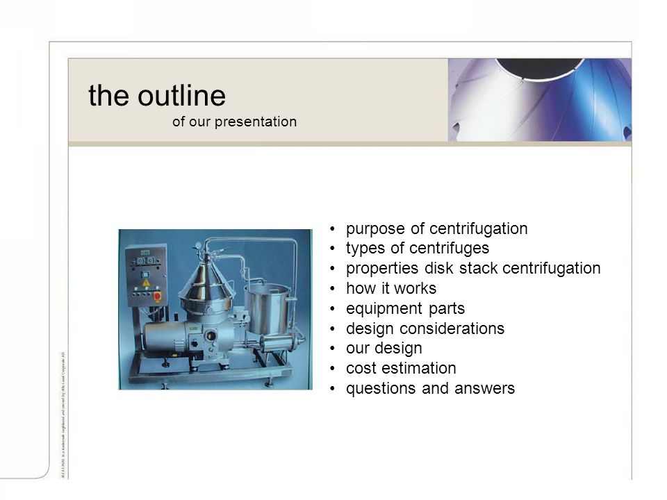 the outline purpose of centrifugation types of centrifuges