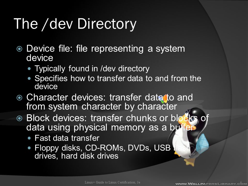 The /dev Directory Device file: file representing a system device