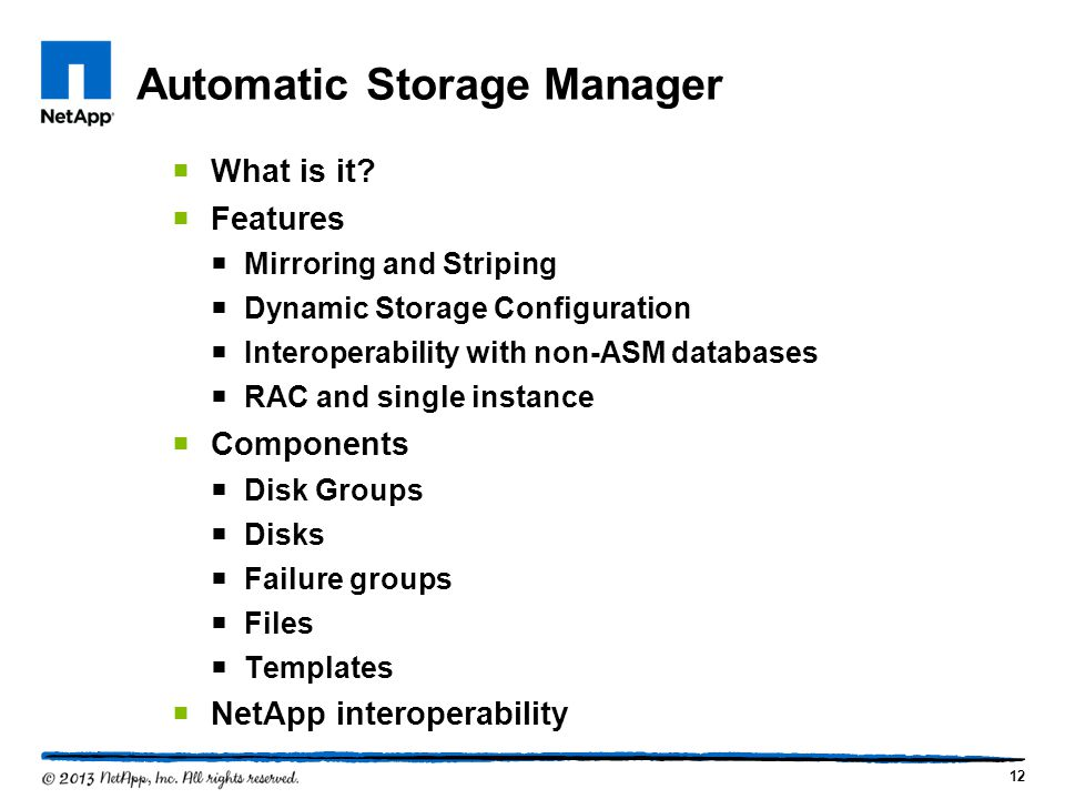 Automatic Storage Manager