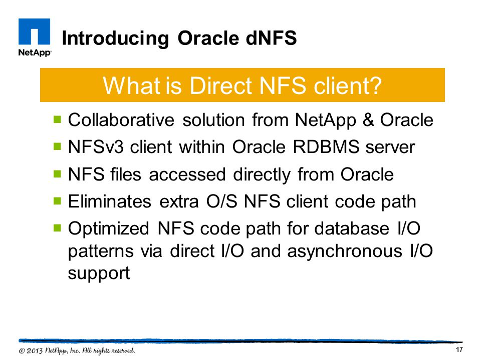 Introducing Oracle dNFS