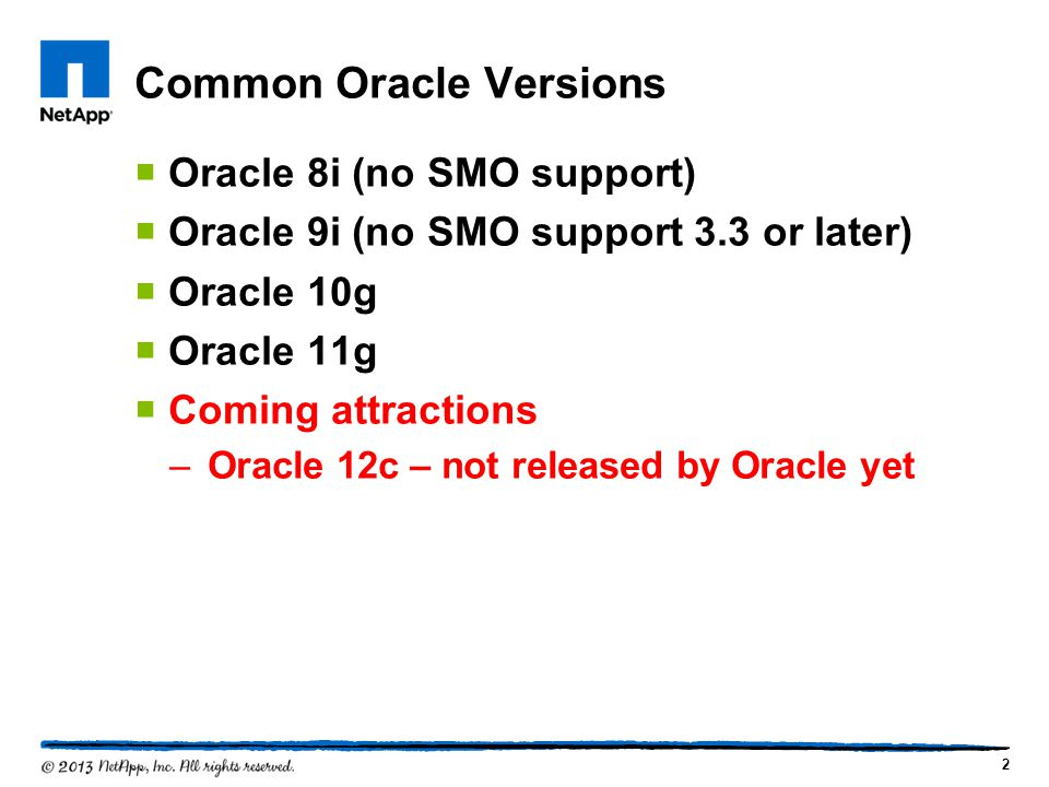 Common Oracle Versions