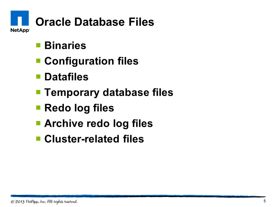 Oracle Database Files Binaries Configuration files Datafiles
