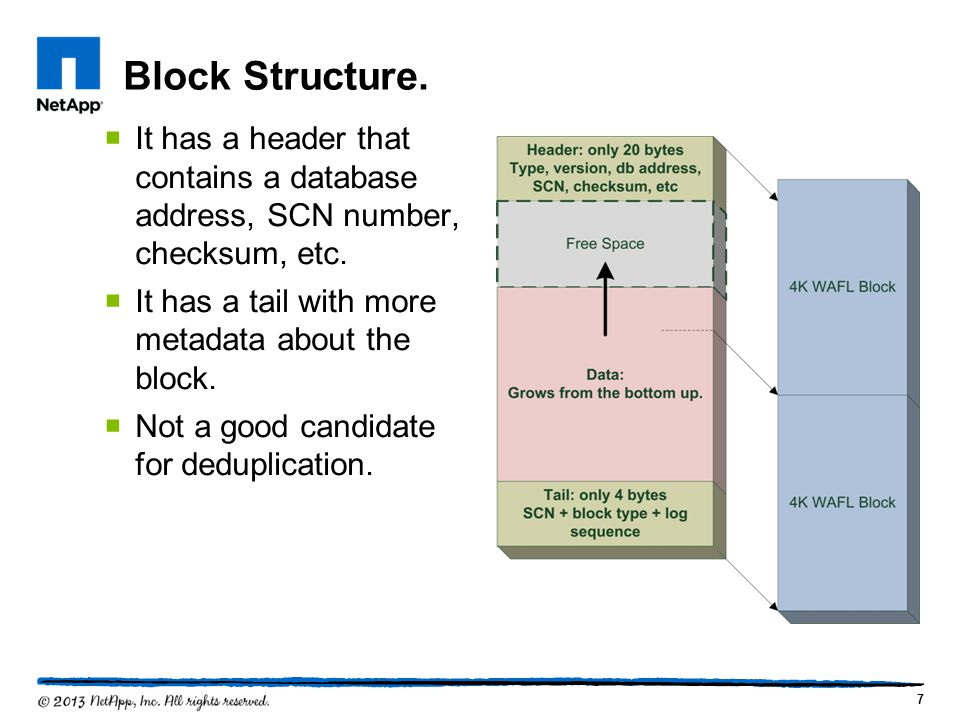 Block Structure. It has a header that contains a database address, SCN number, checksum, etc. It has a tail with more metadata about the block.
