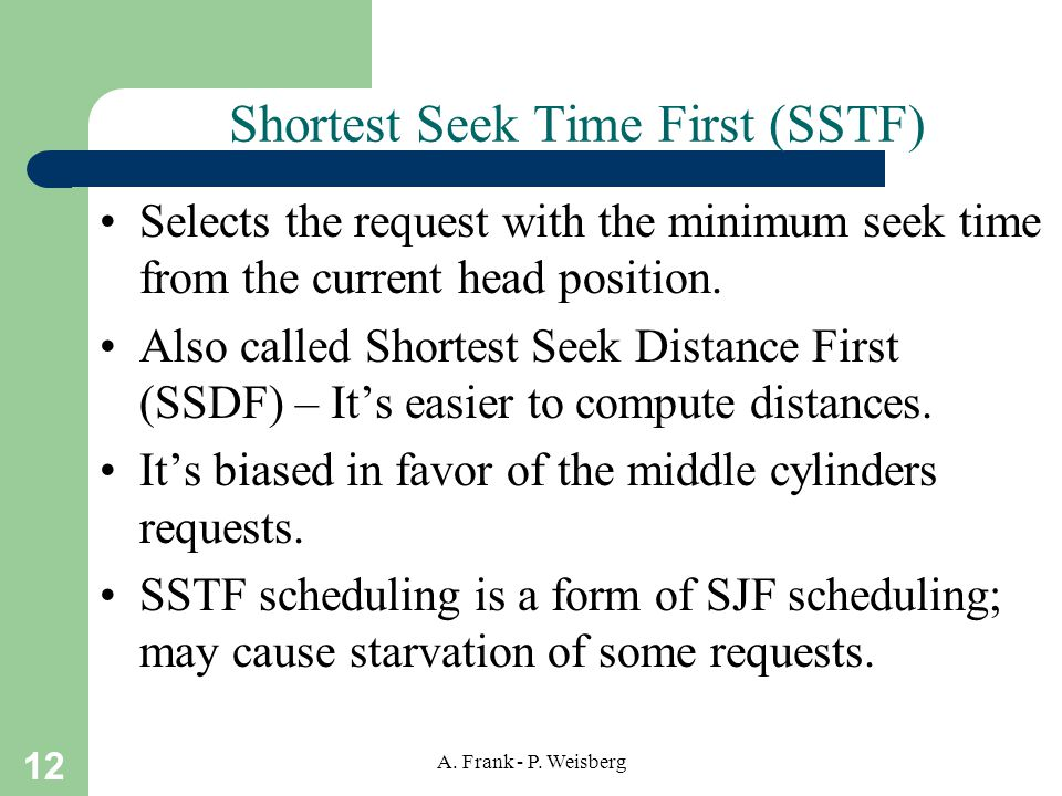Shortest Seek Time First (SSTF)