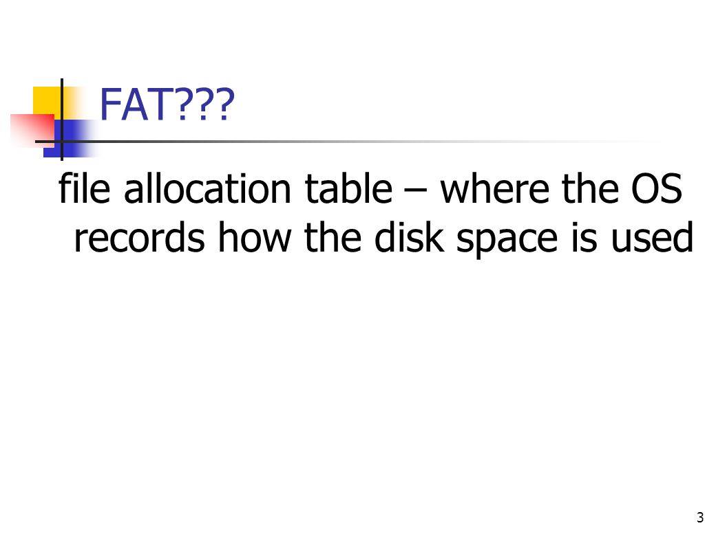 FAT file allocation table – where the OS records how the disk space is used