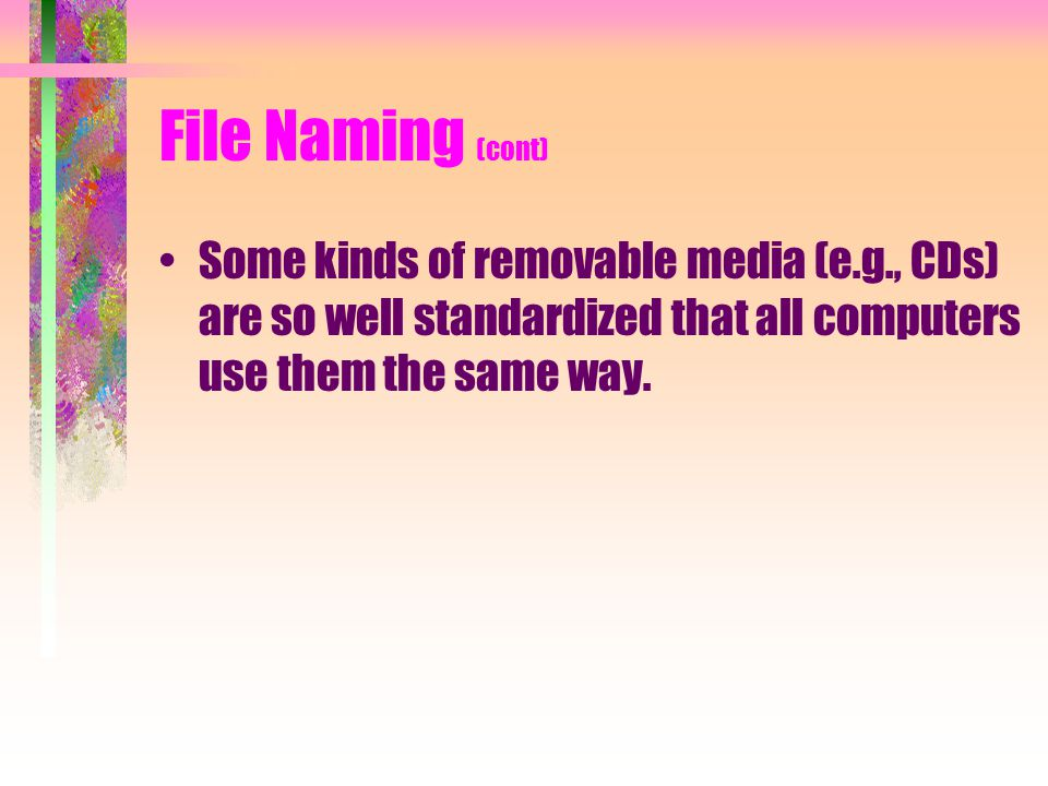 File Naming (cont) Some kinds of removable media (e.g., CDs) are so well standardized that all computers use them the same way.