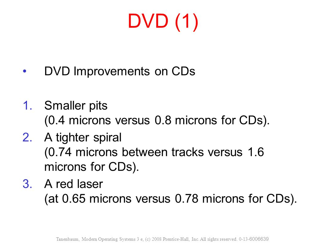 DVD (1) DVD Improvements on CDs