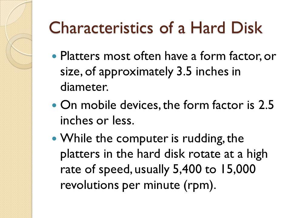 Characteristics of a Hard Disk