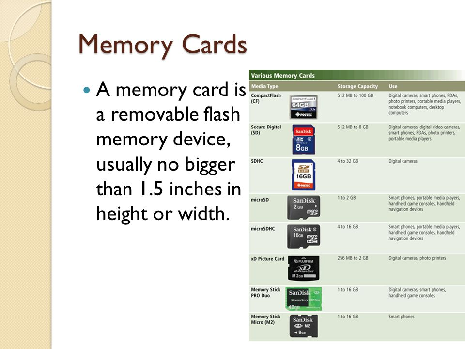 Memory Cards A memory card is a removable flash memory device, usually no bigger than 1.5 inches in height or width.