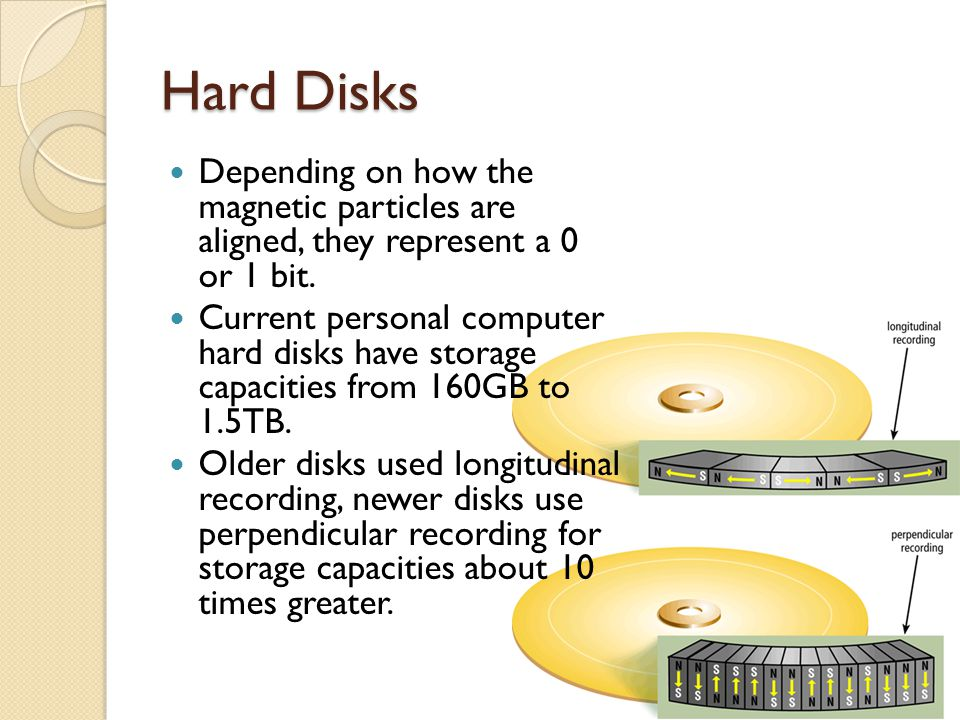 Hard Disks Depending on how the magnetic particles are aligned, they represent a 0 or 1 bit.