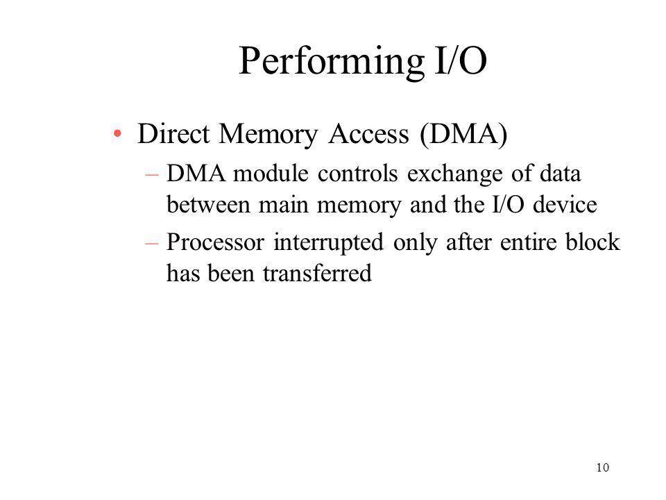 Performing I/O Direct Memory Access (DMA)