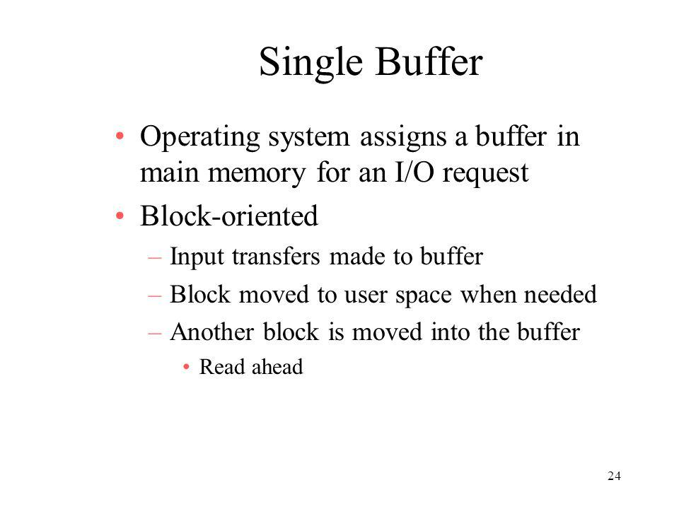 Single Buffer Operating system assigns a buffer in main memory for an I/O request. Block-oriented.