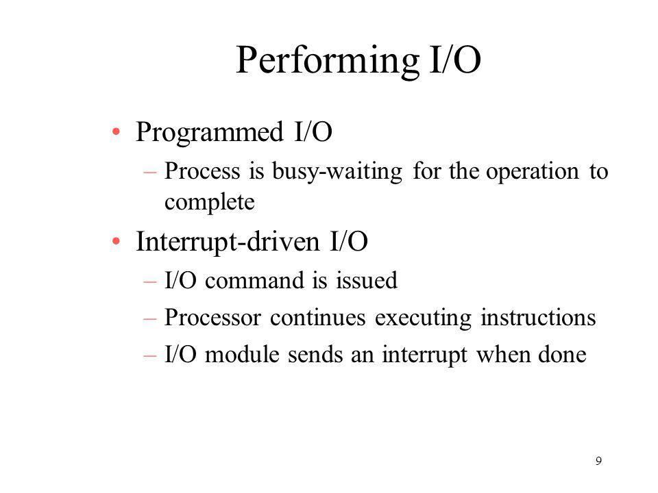 Performing I/O Programmed I/O Interrupt-driven I/O