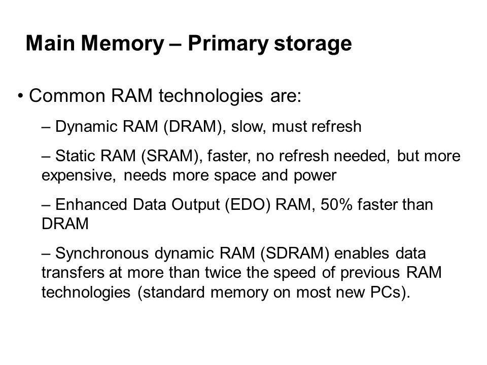 Main Memory – Primary storage