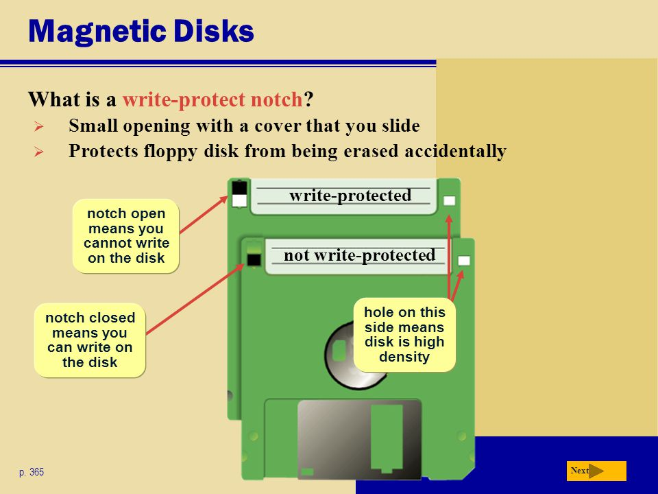 Magnetic Disks What is a write-protect notch