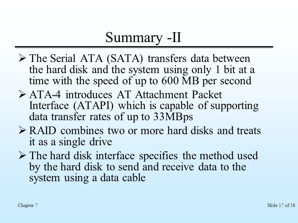 Summary -II