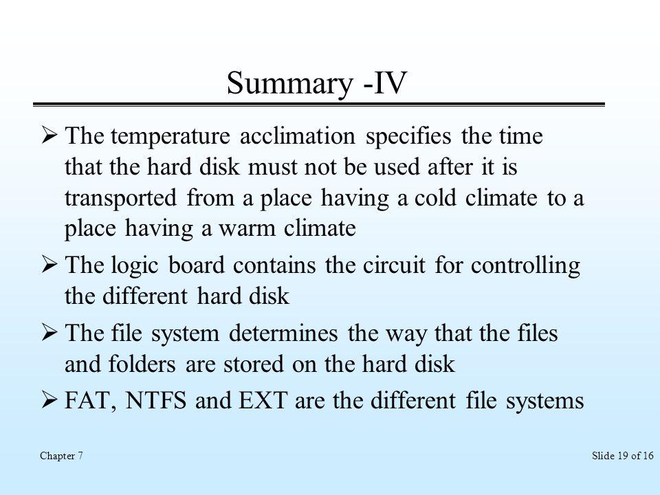 Summary -IV